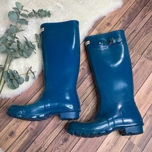 Hunter Turquoise Blue Rain Boot 5/6